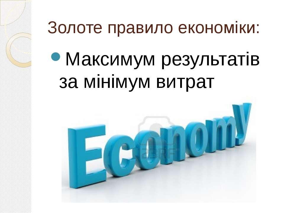 Золоте правило економіки: Максимум результатів за мінімум витрат