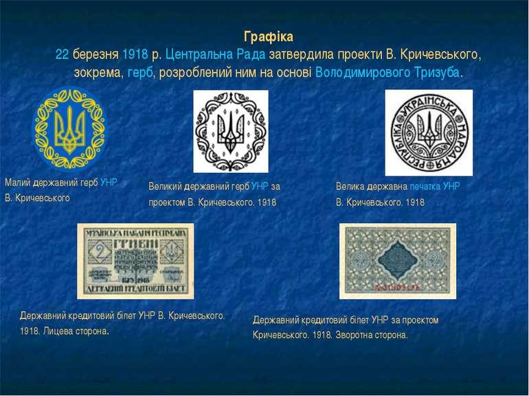Графіка 22 березня 1918р. Центральна Рада затвердила проекти В.Кричевського...