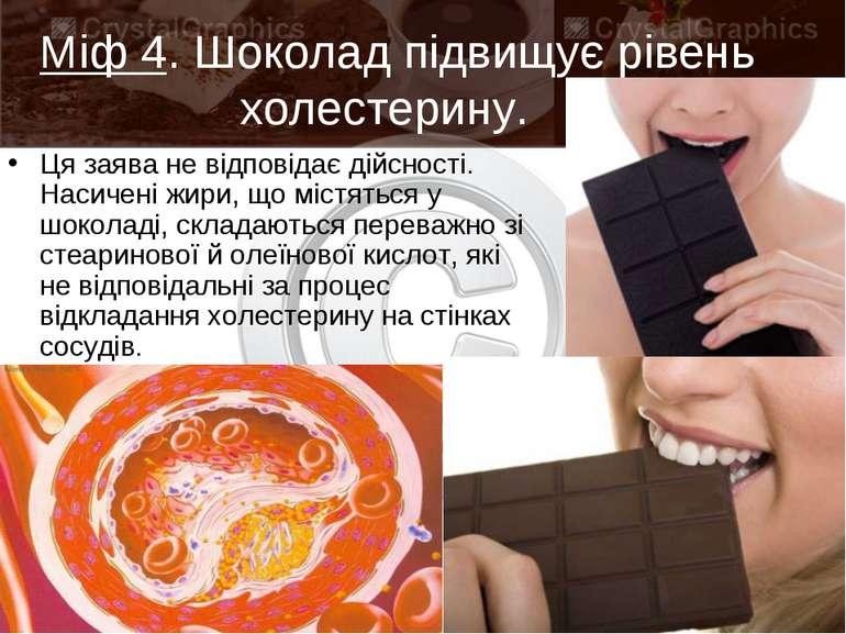 Міф 4. Шоколад підвищує рівень холестерину. Ця заява не відповідає дійсності...