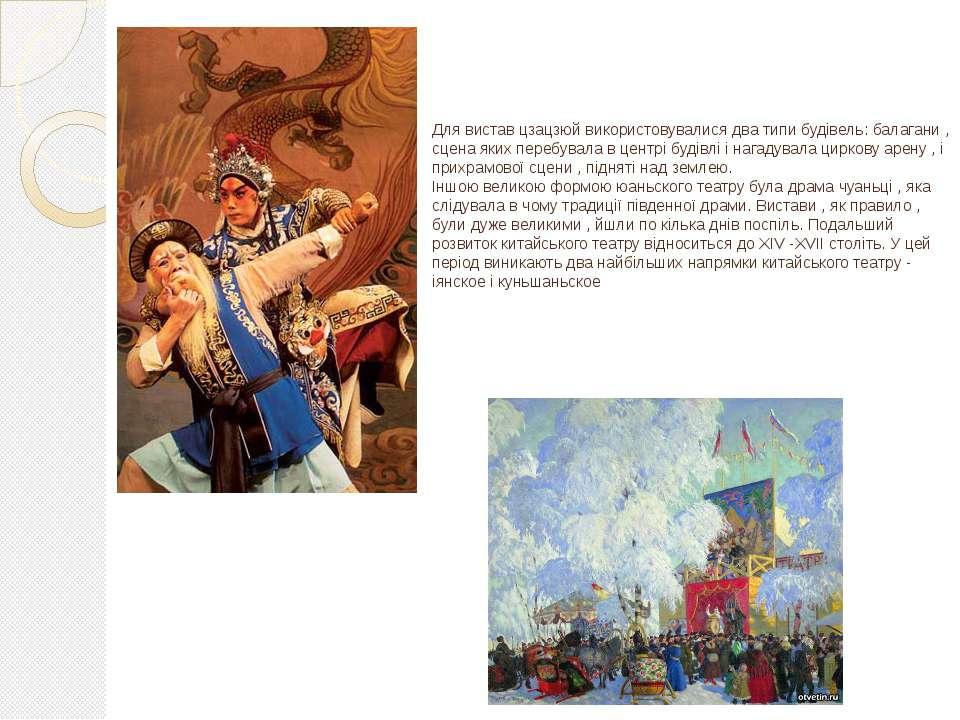 Для вистав цзацзюй використовувалися два типи будівель: балагани , сцена яких...