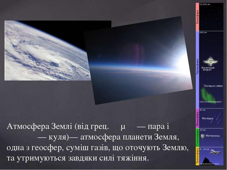 Атмосфера Землі (від грец. άτμός — пара і σφαῖρα — куля)— атмосфера планети З...