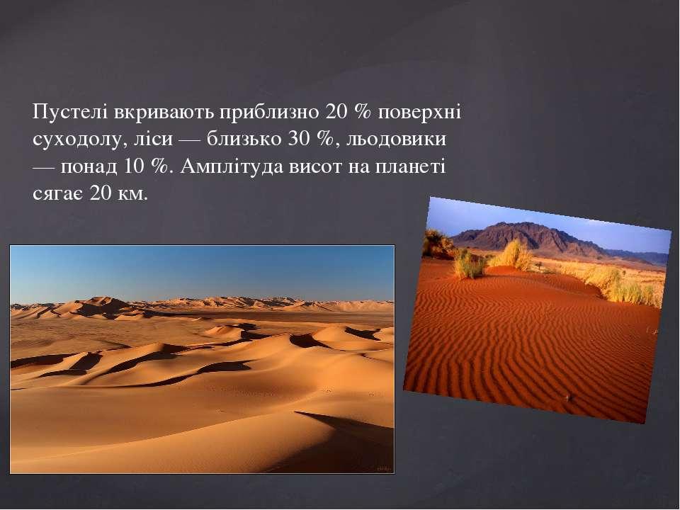 Пустелі вкривають приблизно 20 % поверхні суходолу, ліси — близько 30 %, льод...