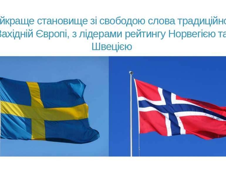 Найкраще становище зі свободою слова традиційно у Західній Європі, з лідерами...