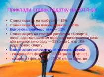 Приклади ставок податку на 2014 рік Ставка податку на прибуток — 18% Ставка п...