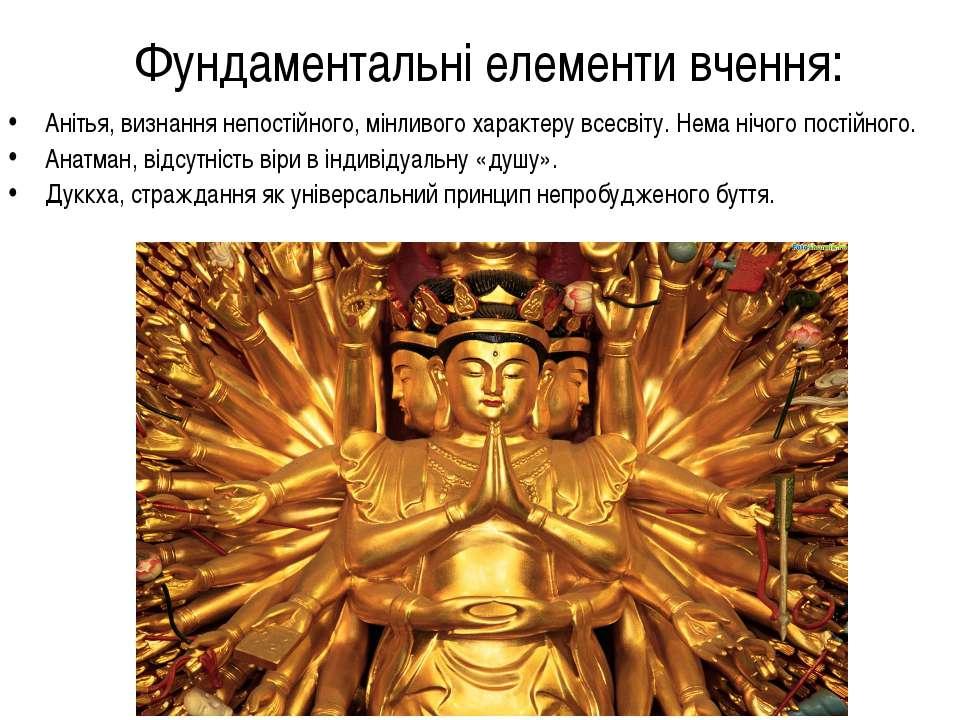 Фундаментальні елементи вчення: Анітья, визнання непостійного, мінливого хара...