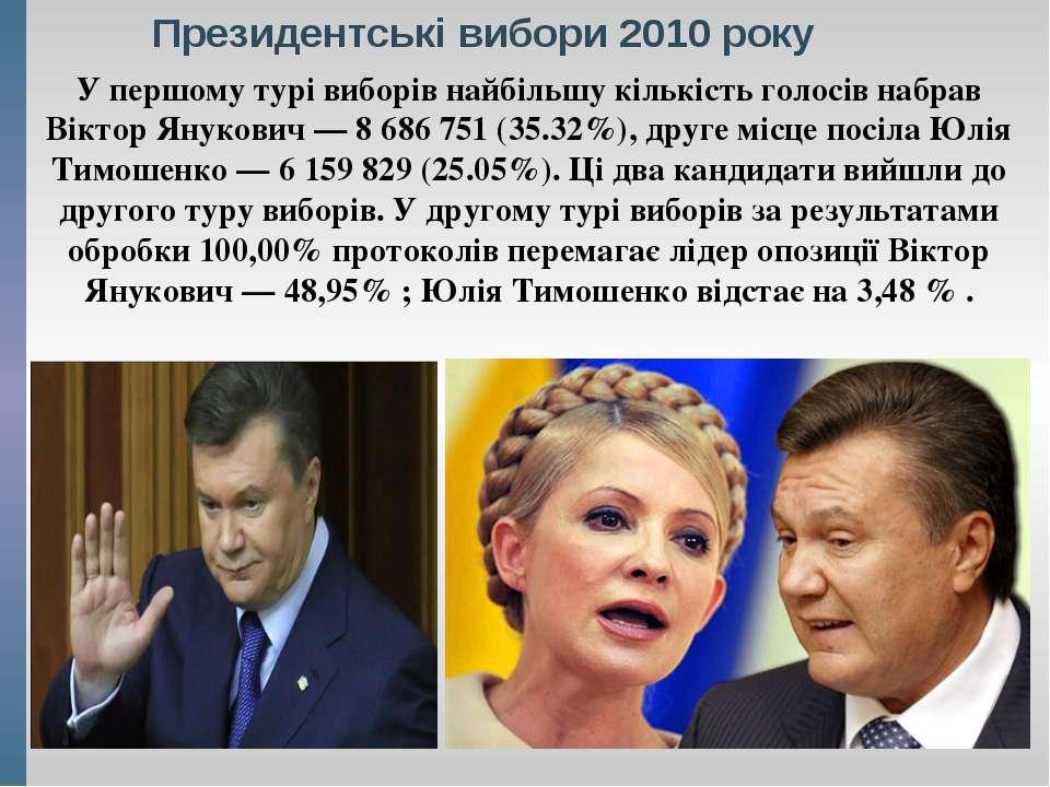 Президентські вибори 2010 року У першому турі виборів найбільшу кількість гол...