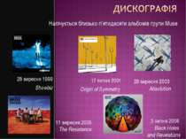 17 липня 2001 Origin of Symmetry 28 вересня 1999 Showbiz 29 вересня 2003 Abso...