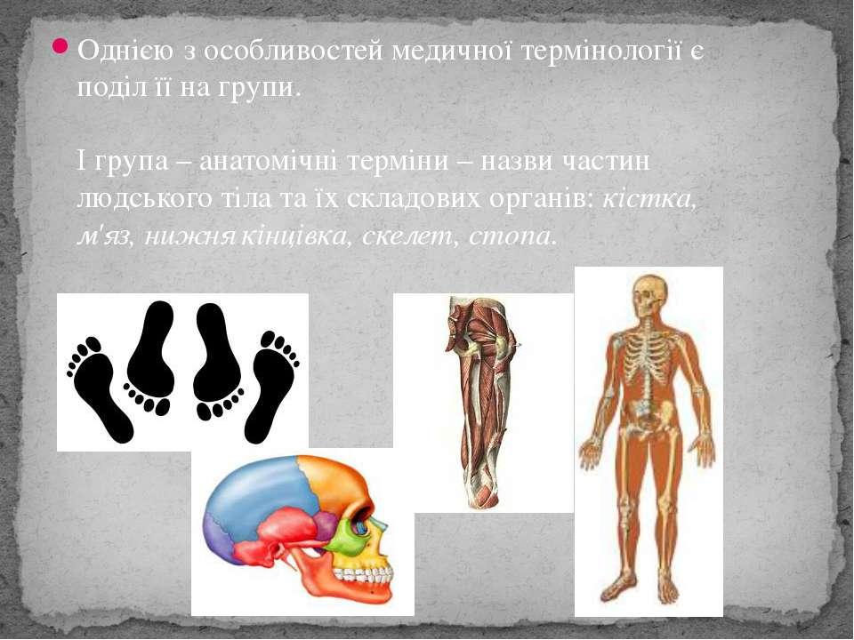 Однією з особливостей медичної термінології є поділ її на групи. І група – а...