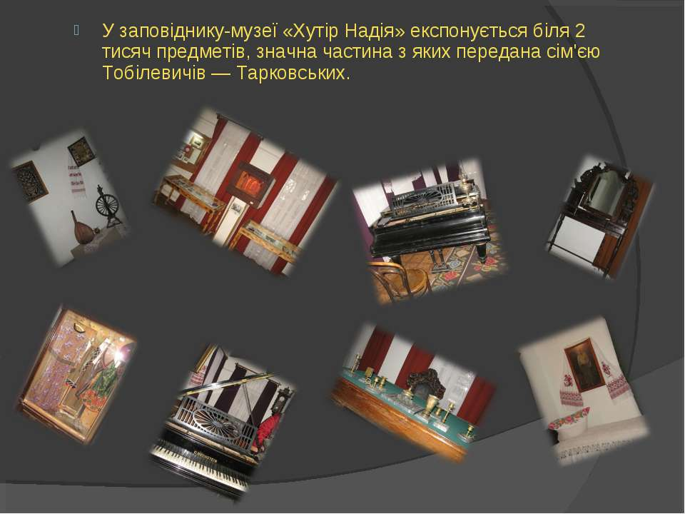 У заповіднику-музеї «Хутір Надія» експонується біля 2 тисяч предметів, значна...