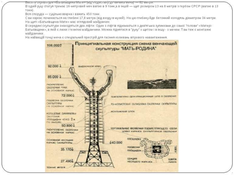 Загальна висотамонументуз постаментом — 102 метри. Висотаскульптури«Батьк...