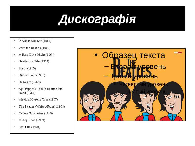 Дискографія Please Please Me (1963) With the Beatles (1963) A Hard Day's Nigh...