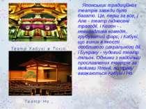 Японських традиційних театрів завжди було багато. Це, перш за все, і Але - те...