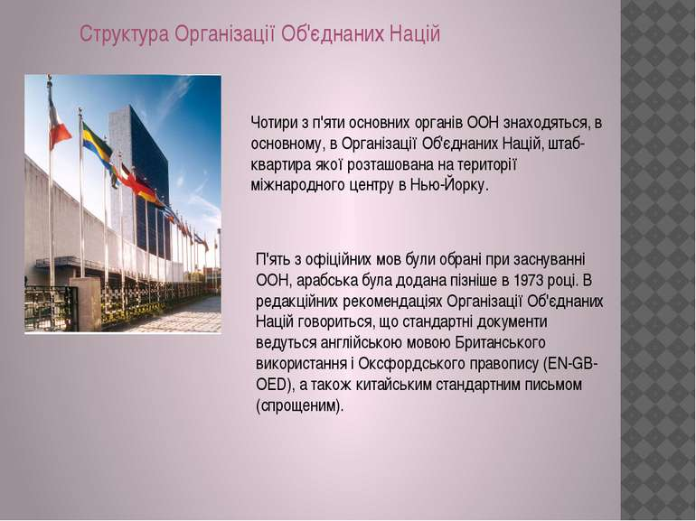 Структура Організації Об'єднаних Націй Чотири з п'яти основних органів ООН зн...