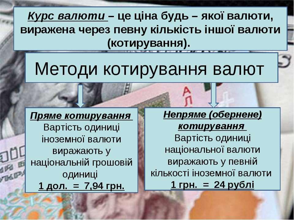 Курс валюти – це ціна будь – якої валюти, виражена через певну кількість іншо...
