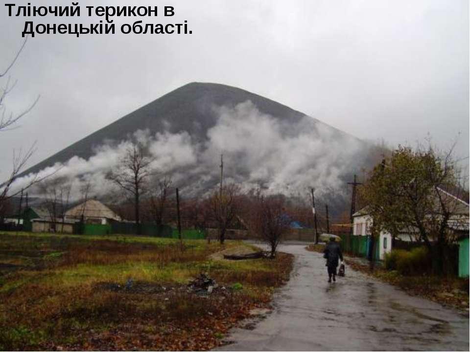 Тліючий терикон в Донецькій області.
