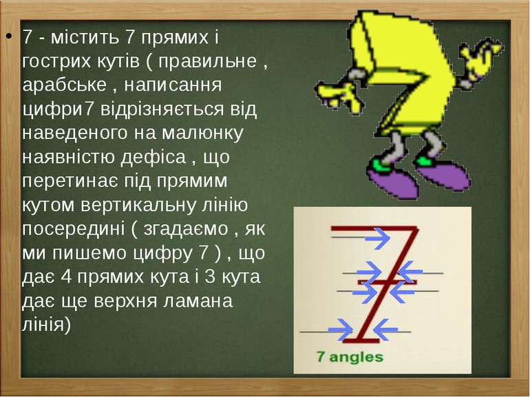 7 - містить 7 прямих і гострих кутів ( правильне , арабське , написання цифри...