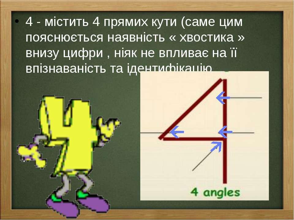 4 - містить 4 прямих кути (саме цим пояснюється наявність « хвостика » внизу ...
