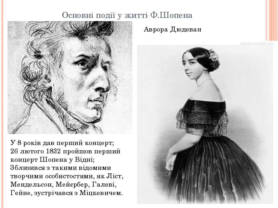 Основні події у житті Ф.Шопена У 8 років дав перший концерт; 26 лютого 1832 п...