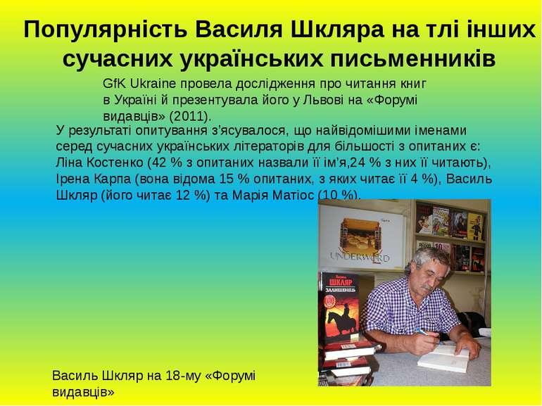Популярність Василя Шкляра на тлі інших сучасних українських письменників Ур...