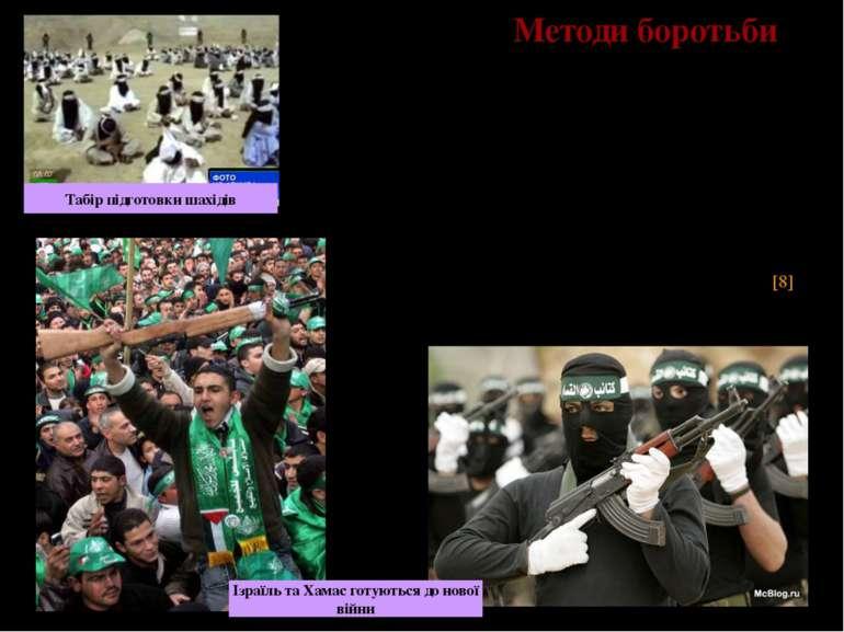 Методи боротьби Частково популярність організації «Хамас» серед палестинців п...