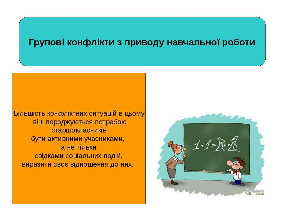 Групові конфлікти з приводу навчальної роботи Більшість конфліктних ситуацій ...