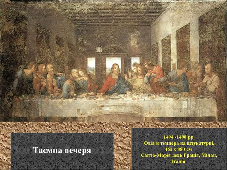 1494 -1498 рр. Олія й темпера на штукатурці. 460 x 880 см Санта-Марія дель Гр...