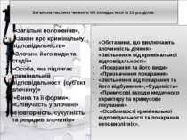 Загальна частина чинного КК складається із 15 розділів: «Загальні положення»,...