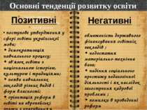 Основні тенденції розвитку освіти • поступове утвердження у сфері освіти укра...