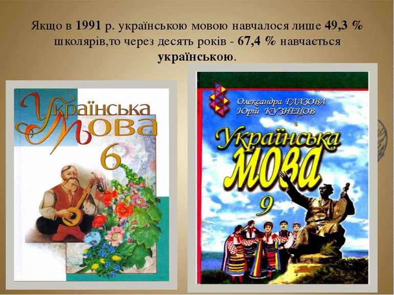 Якщо в 1991 р. українською мовою навчалося лише 49,3 % школярів,то через деся...