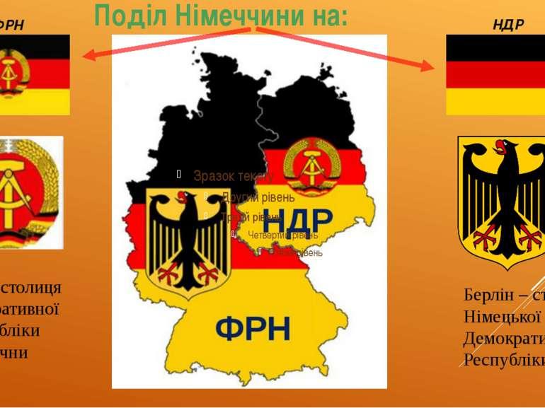 Бон – столиця Федеративної Республіки Німеччни Берлін – столиця Німецької Дем...