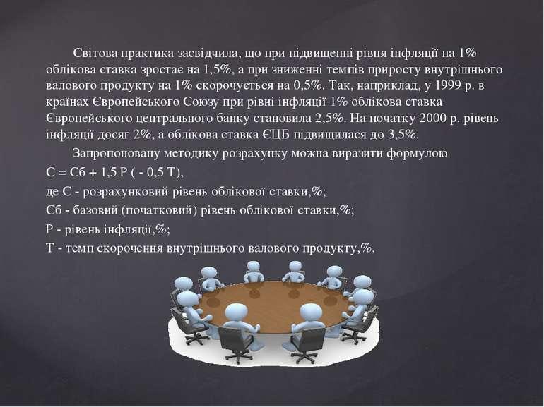 Світова практика засвідчила, що при підвищенні рівня інфляції на 1% облікова ...