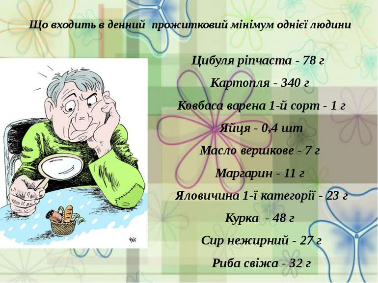 Що входить в денний прожитковий мінімум однієї людини Цибуля ріпчаста - 78 г ...