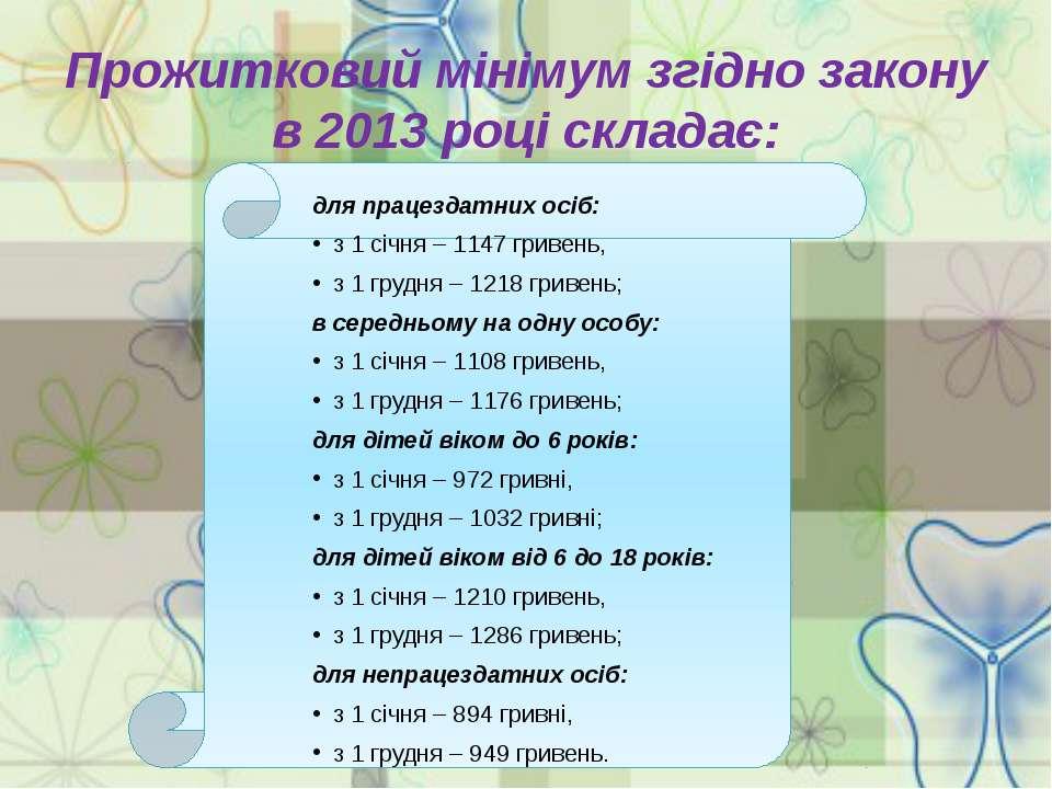Прожитковий мінімумзгідно закону в 2013 році складає: для працездатних осіб:...