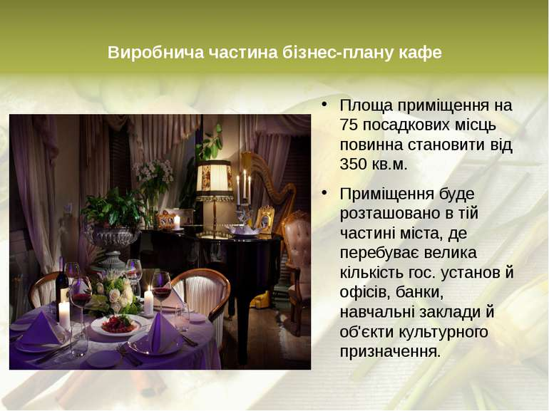 Виробнича частина бізнес-плану кафе Площа приміщення на 75 посадкових місць п...