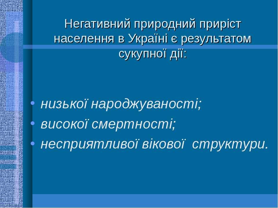 Негативний природний приріст населення в Україні є результатом сукупної дії: ...