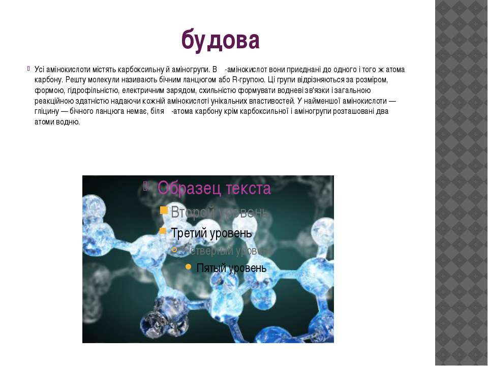 будова Усі амінокислоти містять карбоксильну й аміногрупи. В α-амінокислот во...
