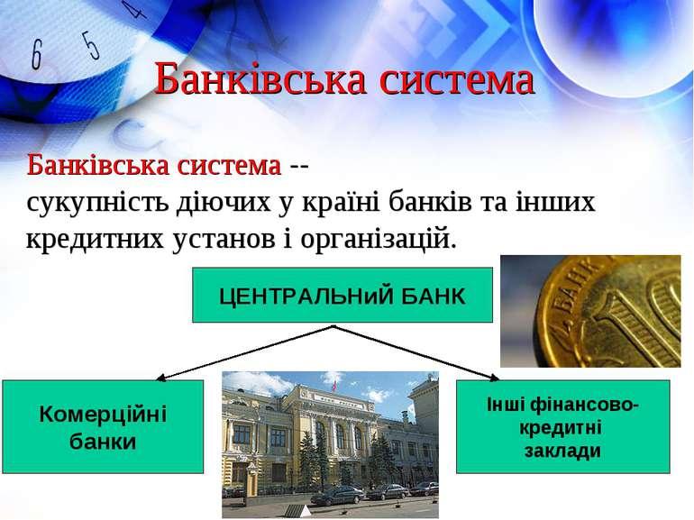 Банківська система Банківська система -- сукупність діючих у країні банків та...
