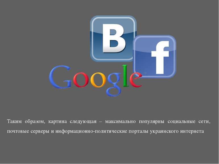 Таким образом, картина следующая – максимально популярны социальные сети, поч...