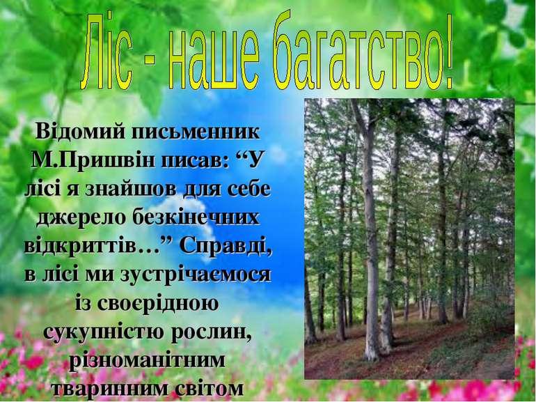 """Відомий письменник М.Пришвін писав: """"У лісі я знайшов для себе джерело безкін..."""