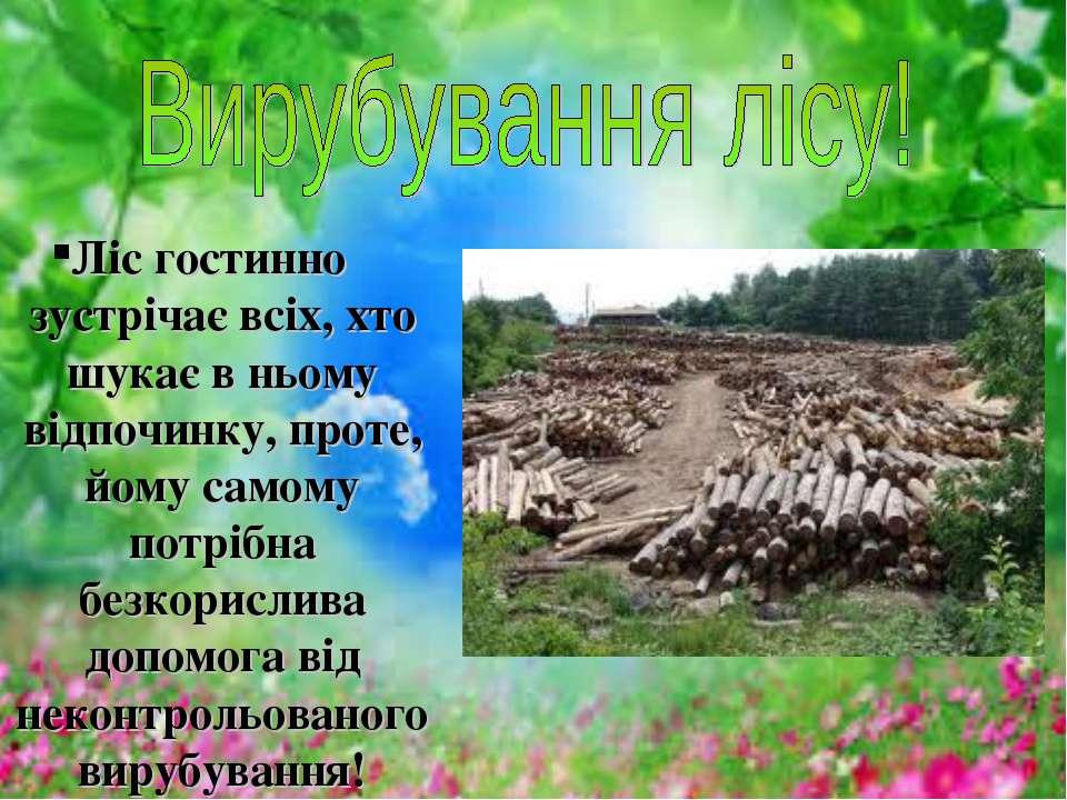 Ліс гостинно зустрічає всіх, хто шукає в ньому відпочинку, проте, йому самому...