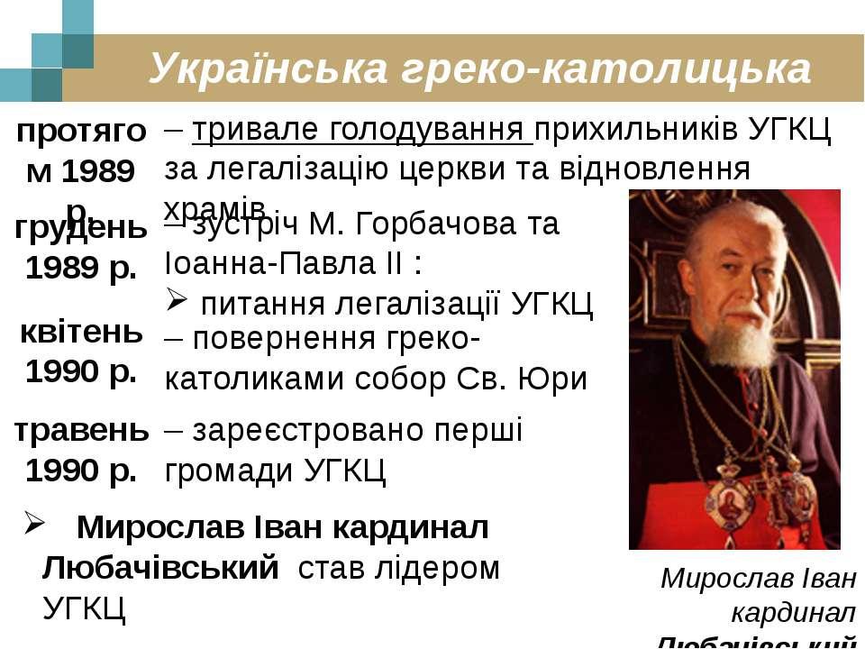 Українська греко-католицька церква протягом 1989 р. – тривале голодування при...