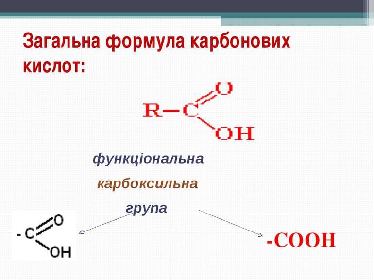 Загальна формула карбонових кислот: функціональна карбоксильна група -COOH