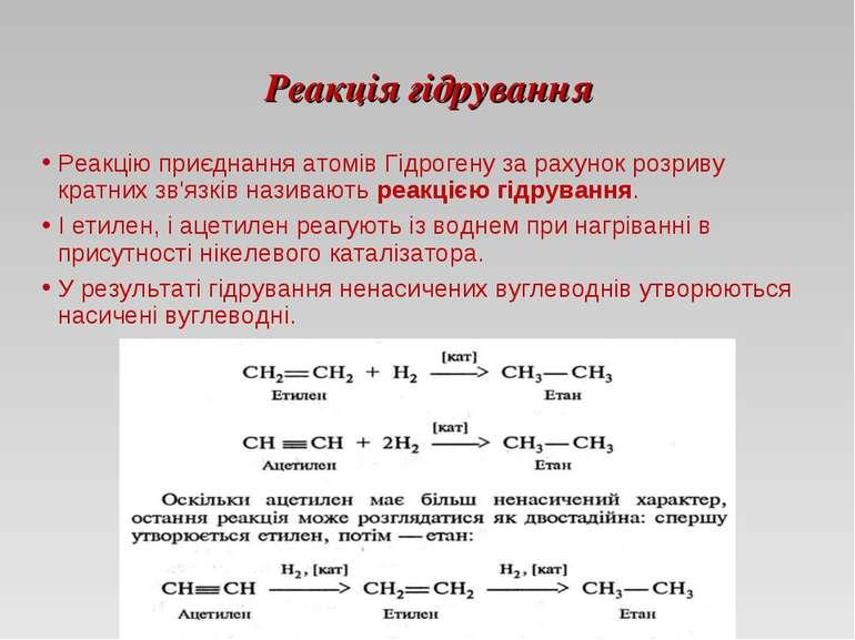 Реакція гідрування Реакцію приєднання атомів Гідрогену за рахунок розриву кра...