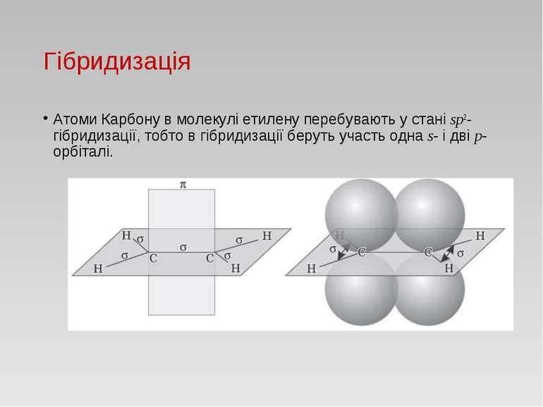 Гібридизація Атоми Карбону в молекулі етилену перебувають у стані sp2-гібриди...