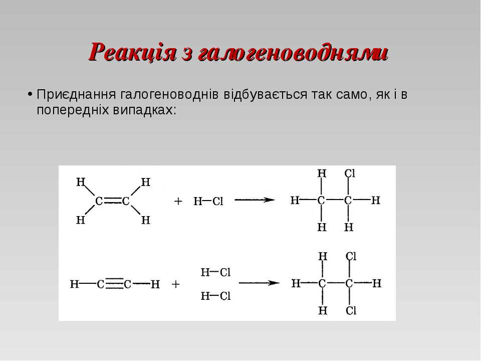 Реакція з галогеноводнями Приєднання галогеноводнів відбувається так само, як...