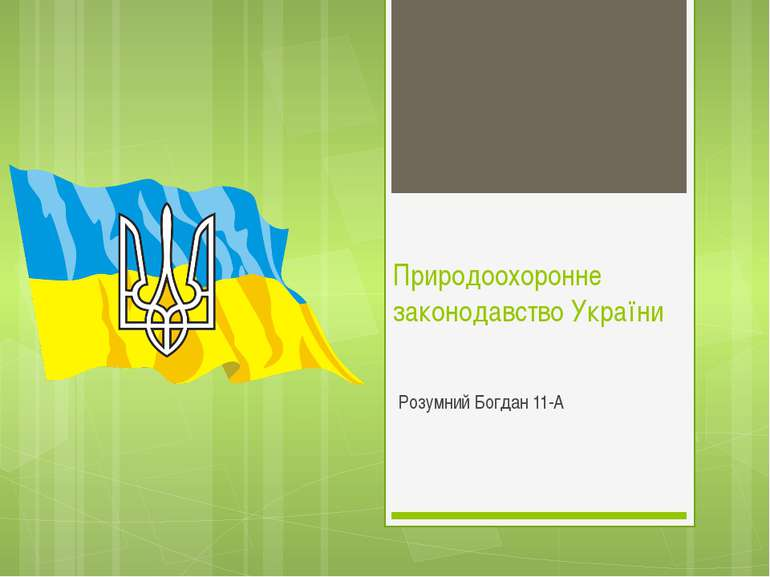 Природоохоронне законодавство України Розумний Богдан 11-А