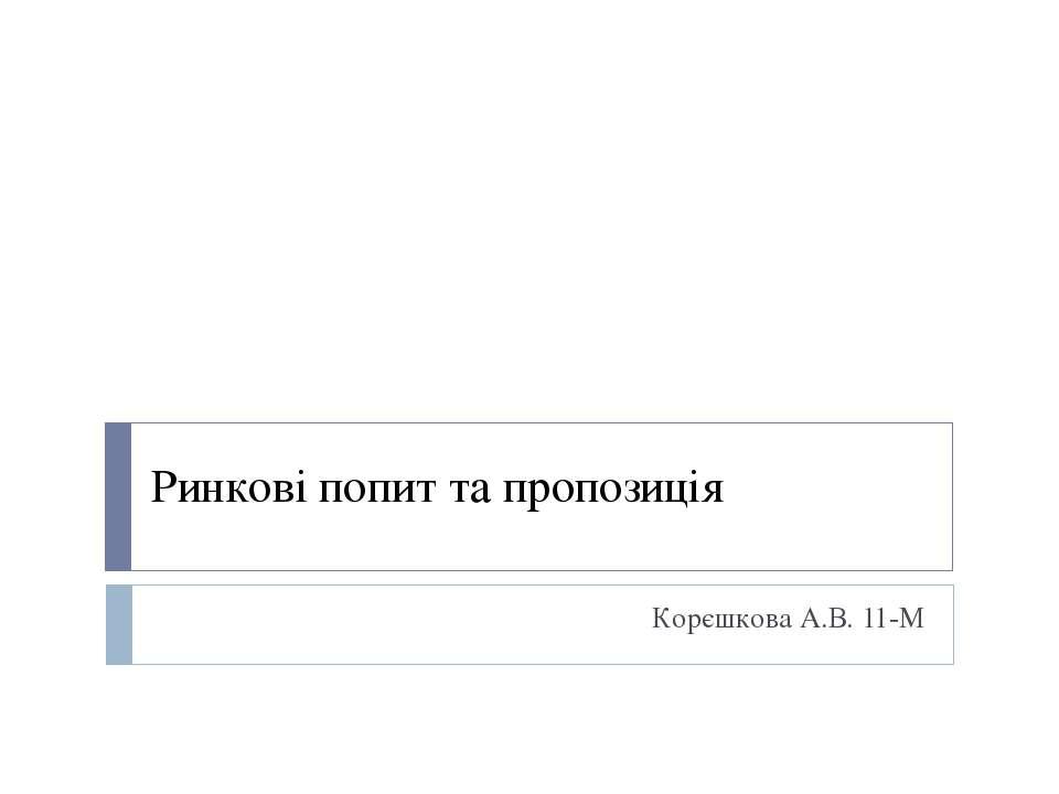 Ринкові попит та пропозиція Корєшкова А.В. 11-М