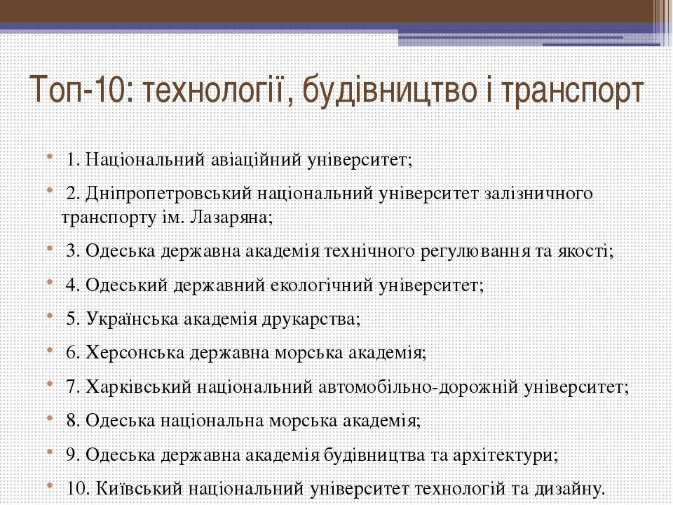 Топ-10: технології, будівництво і транспорт 1. Національний авіаційний уніве...