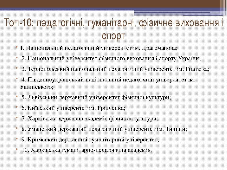 Топ-10: педагогічні, гуманітарні, фізичне виховання і спорт 1. Національний п...