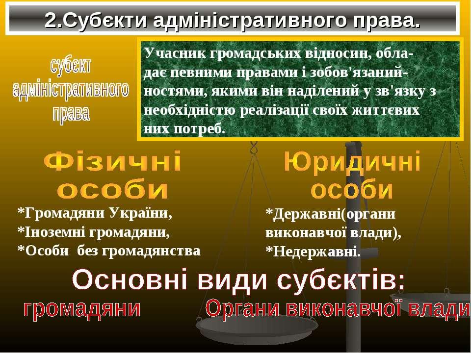 2.Субєкти адміністративного права. Учасник громадських відносин, обла- дає пе...